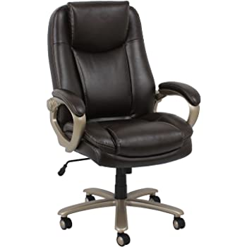 brown leather office chair. Essentials Big And Tall Executive Chair - Leather Office With Fixed  Arms, Brown ( Brown Leather Office Chair