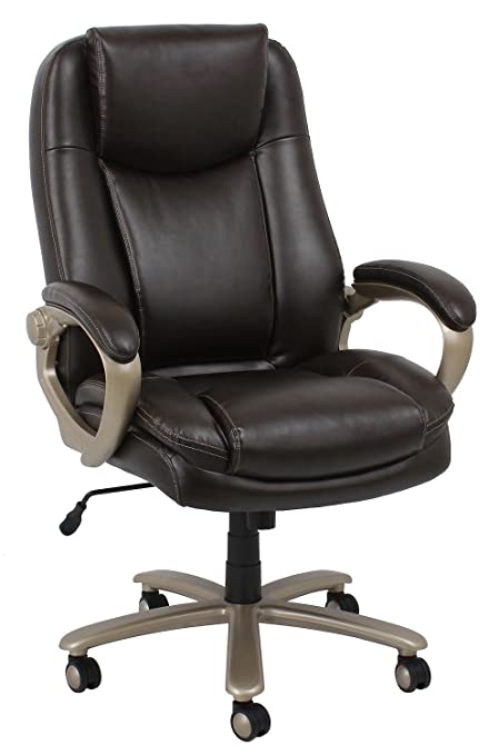 Amazon.com: Essentials Big And Tall Executive Chair   Leather Office Chair  With Fixed Arms, Brown (ESS 201 BRN): Home U0026 Kitchen