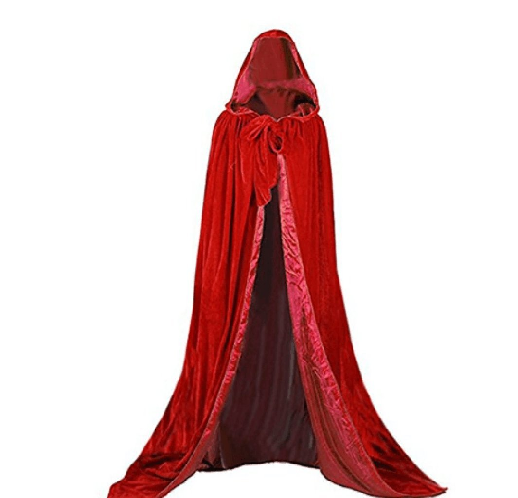REDRed Small Special Bridal Vampire Cape Cloak with Hood Halloween Costumes Velvet Cape Medieval Cape Long