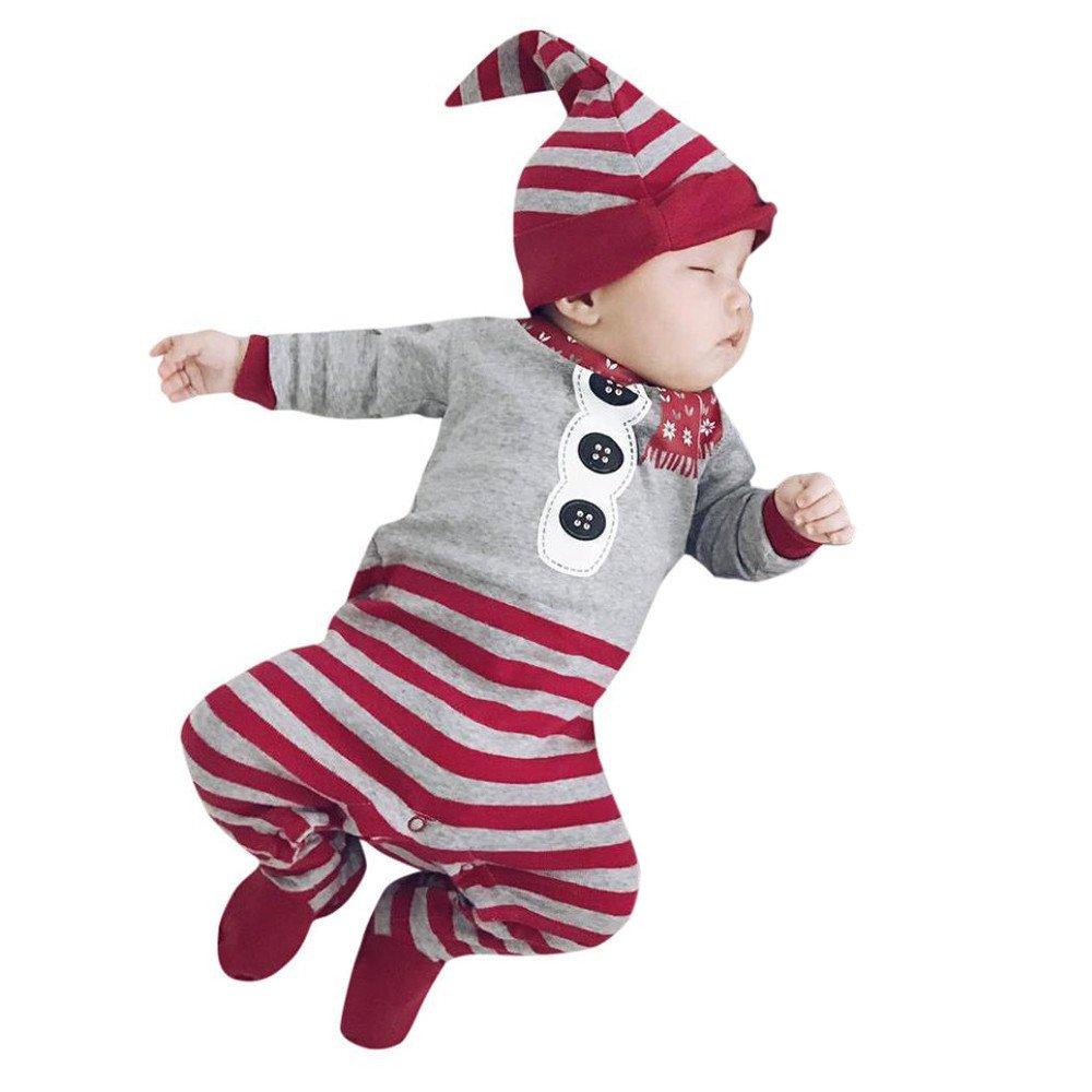 BeautyTop Neugeborene Baby Mädchen Jungen Weihnachten Kleidung Strampler Overall Hut Outfit Kleidung BT-520