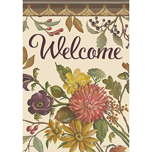 Autumn Hues Welcome House Flag Floral Fall Flower Double Sided 28