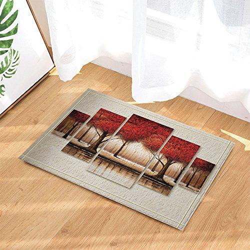 KOTOM Fall Decor, Abstract Red Maple Leaves Creative Design Bath Rugs, Non-Slip Doormat Floor Entryways Indoor Front Door Mat, Kids Mat, 15.7x23.6in, Bathroom Accessories (5569 Slip)