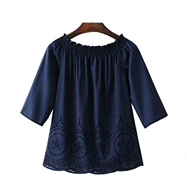 NEW Spring Summer Women Sexy Off Shoulder Slash Neck Chiffon Blouse Hollow Out Half Sleeve Blue