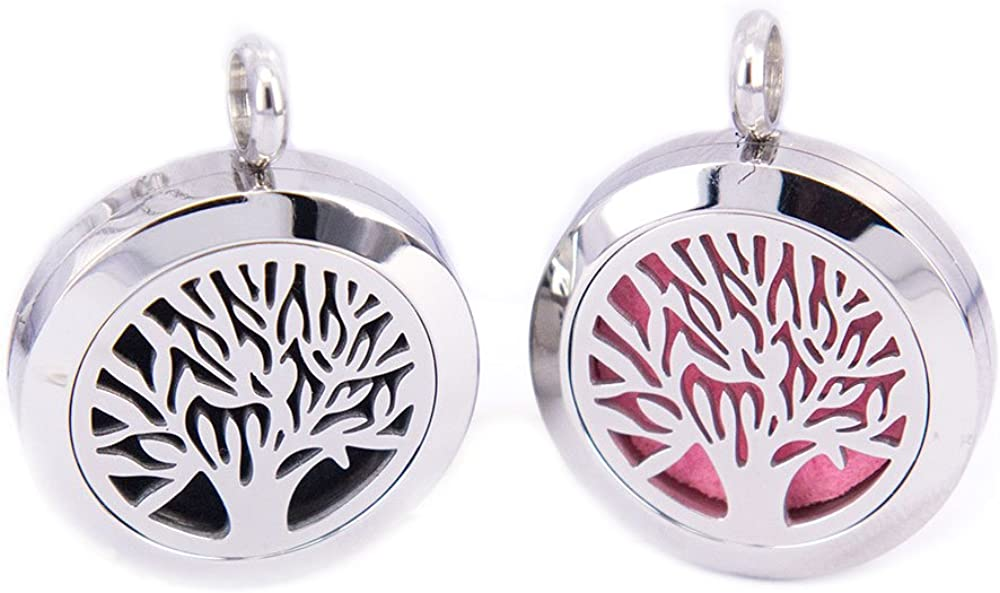 Tree of Life Aromatherapy 25mm Mesinya 1 316L s.steel Essential Oils Diffuser Locket Necklace