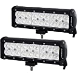 """Auxbeam 9"""" LED Light Bar 54W Off-road Lights Flood Beam Cree Chips Driving Light for Vehicle Pickup Car SUV Truck with Mounting Brackets (Pack of 2)"""