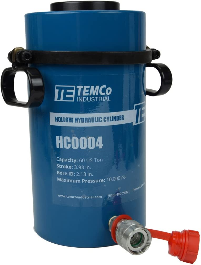 5 YEAR Warranty TEMCo HC0004 Hollow Hydraulic Cylinder Ram 60 TON 4 In Stroke