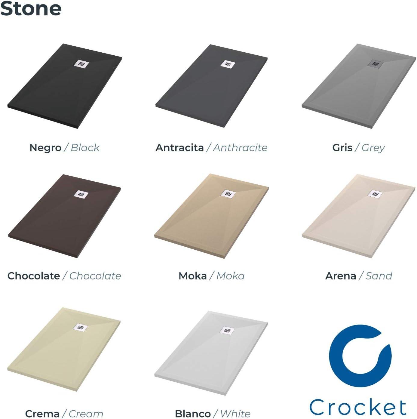 Toutes les mesures n/écessaires Mod/èle Stone Crocket Receveur de Douche Italienne /à carreler en pierre effet ardoise et extra-plat Bac /à douche avec bonde de douche Blanc RAL 9003-70 x 100