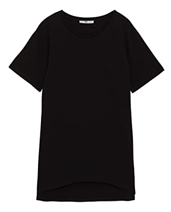 caaae5797d40e Zara Women s Basic Asymmetrical t-Shirt 4174 025 Black  Amazon.co.uk ...