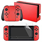 eXtremeRate Red Carbon Fiber Decals Stickers Full Set Faceplate Skins +2Pcs Screen Protector for Nintendo Switch Console & Joy-con Controller & Dock Protection Kit For Sale