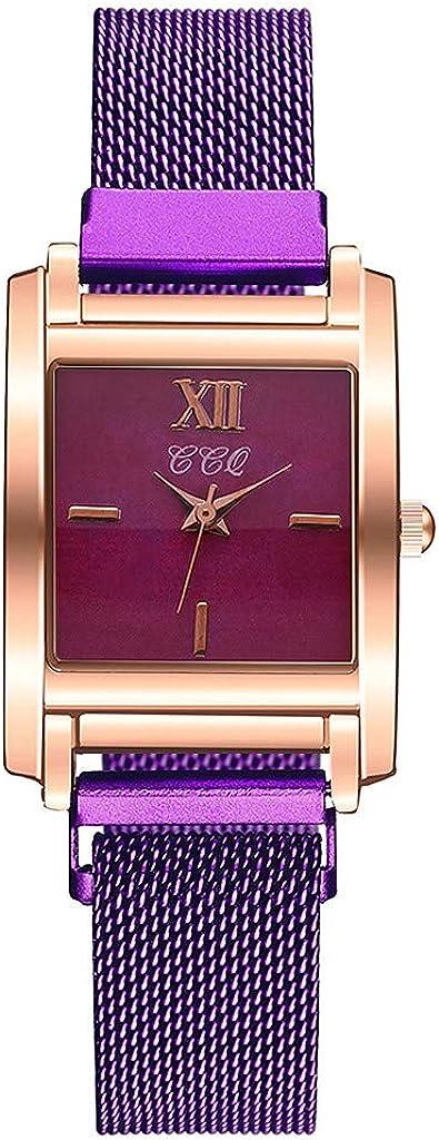 Yivise Reloj de Cuarzo analógico Casual para Mujer Reloj de Pulsera de Correa de Malla con Esfera Cuadrada Simple