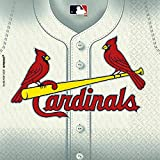 Amscan MLB Party St. Louis Cardinals Luncheon Napkins (36 Piece), White/Red/Yellow, 6.5 x 6.7""
