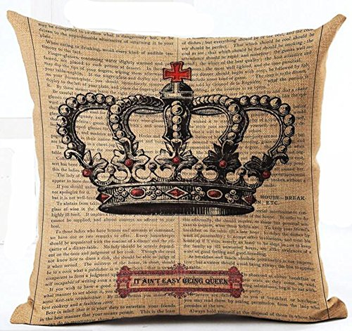 Cotton Linen Retro Book Page Illustration Black Sketch King Crown Pillow Covers Cushion Cover Decorative Sofa Bedroom Square 18 inches