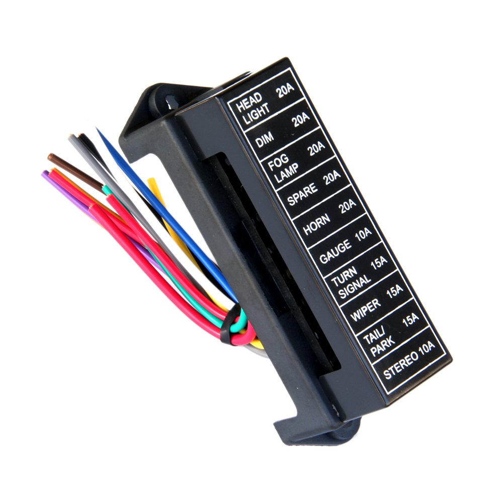 10-Way 2-Input Fuse Holder Standard Circuit Fuse Board with 15cm Wire for Car Boat Marine Trike Truck (Fuse Not Included) OUNONA