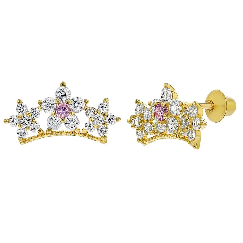 Plata de Ley chapados oro amarillo claro CZ Star Princesa corona pendientes