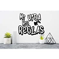 Enkolor Vinilos Decorativos con Frases Adhesivas para Paredes y Superficies Planas Reglas Color Negro. Tamaño 29X21 cm.