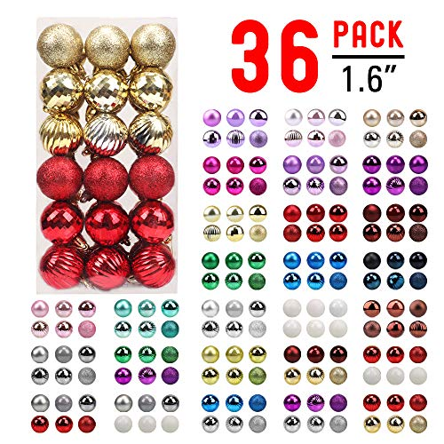 walsport Christmas Balls Ornaments for Xmas Tree, 36ct Plastic Shatterproof Baubles Colored and Glitter Christmas Party Decoration 1.6inch Set (Red & Gold)