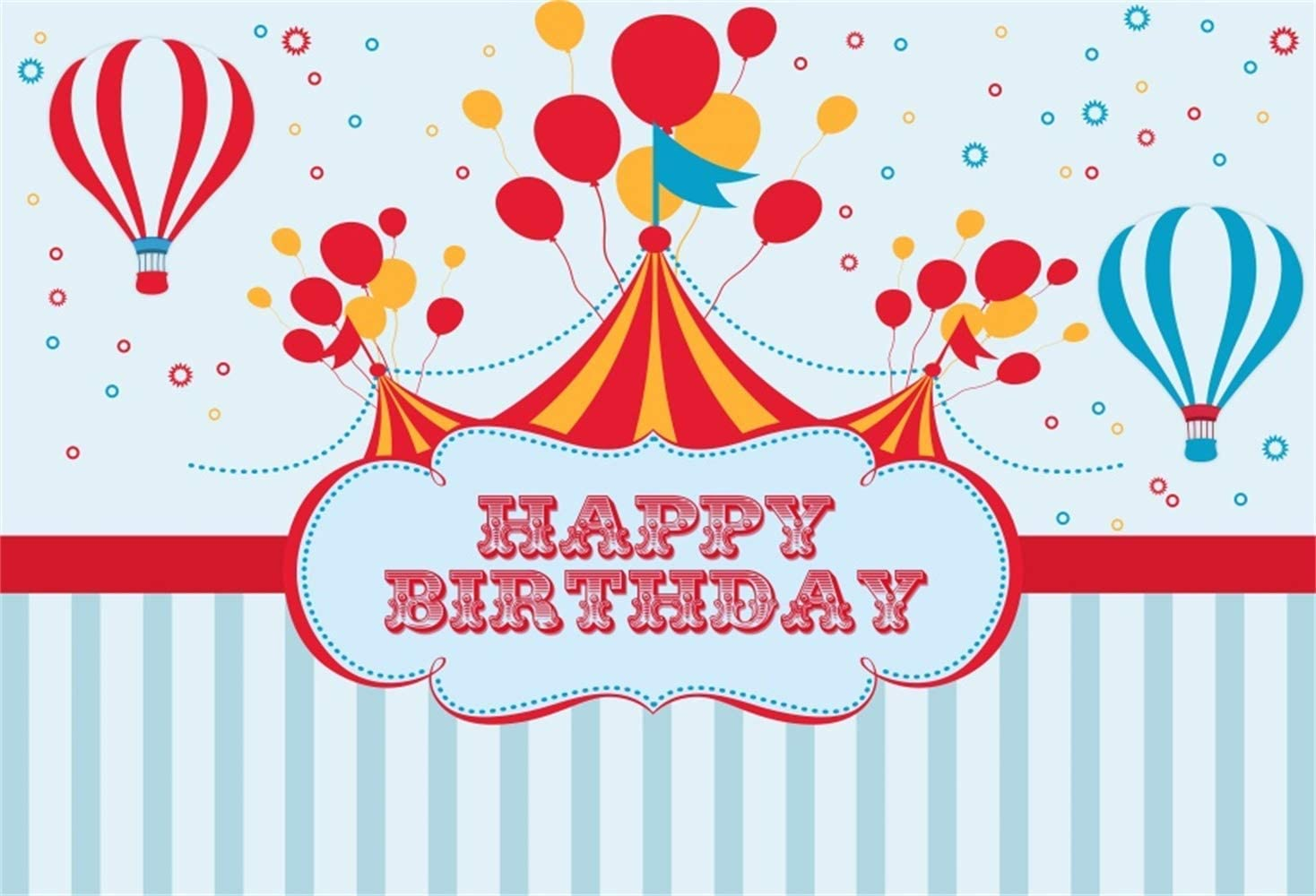 8x6.5ft Happy Birthday Polyester Photography Background Cartoon Circus Tent Fire Balloons Fireworks Blue Striped Backdrop Child Baby Birthday Party Banner Cake Smash Childish Wallpaper