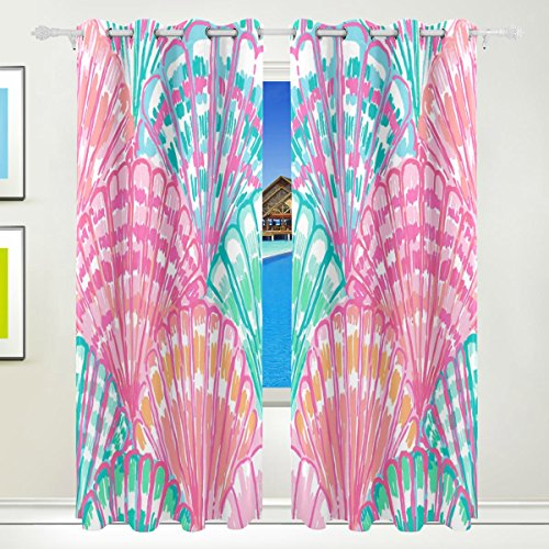LEISISI Fashion Design Lily Pulitzer Thermal Insulated Blackout Room Darkening Window Curtains for Bedroom Living Room 55