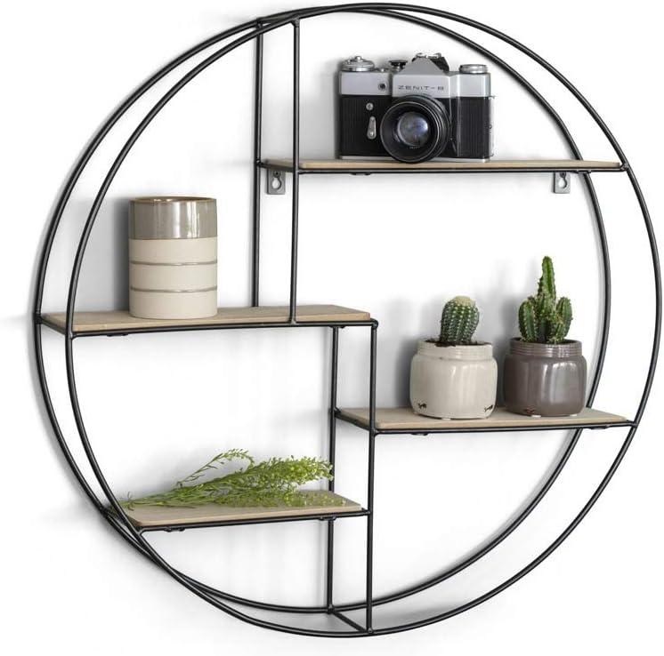 LIFA LIVING Round Wall Shelf Unit, Book shelf, Floating Decorative Shelving, Wooden Storage shelves for Living Room Bedroom, Kitchen shelves, Shabby Chic Shelf, 55x11 cm