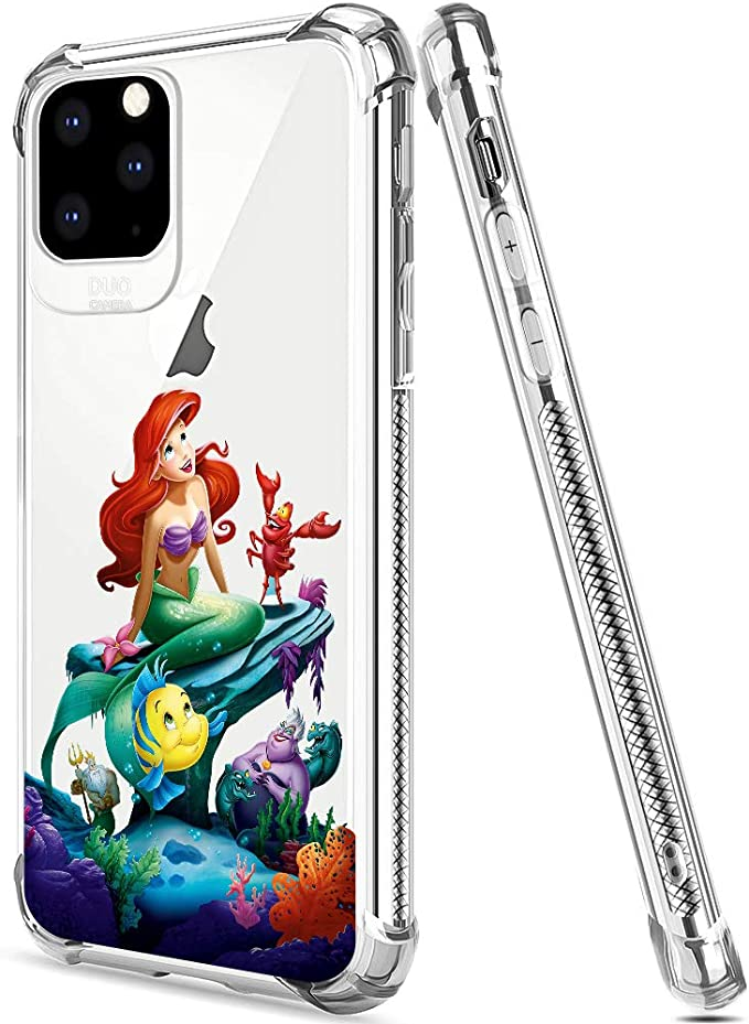 Amazon Com Disney Collection Iphone 11 Pro Case 2019 5 8 Inch Little Mermaid Soft Flexible Tpu Ultra Thin Shockproof Transparent Bumper Protective Cover Case