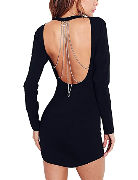 cec724afef69 Haola Women's Sexy Backless Dress Long Sleeve Round Neck Bodycon Mini Dress  with Silver Chain Black