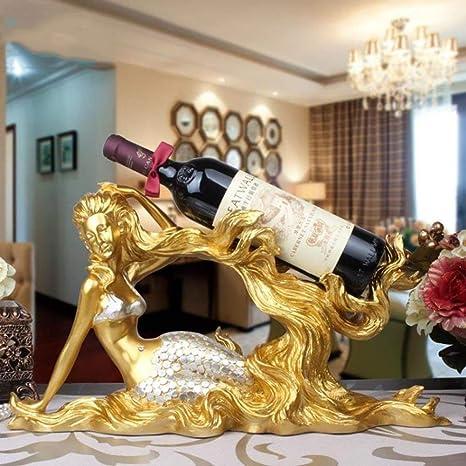 SED Estante de Vino para el hogar Portavasos- Resina Forma de Sirena Creativo Moderno Sencillez