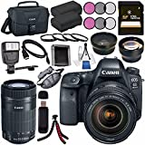 Canon EOS 6D Mark II DSLR Camera with 24-105mm f/4 Lens 1897C009 + Canon EF-S 55-250mm Lens + LPE-6 Lithium Ion Battery + 128GB SDXC Card + Canon 100ES EOS shoulder bag + Tripod + Flash Bundle