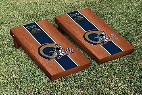 NFL Los Angeles Rams Rosewood Stained Stripe Version Football Cornhole Game Set, 24'' x 48'', Multicolor by Victory Tailgate