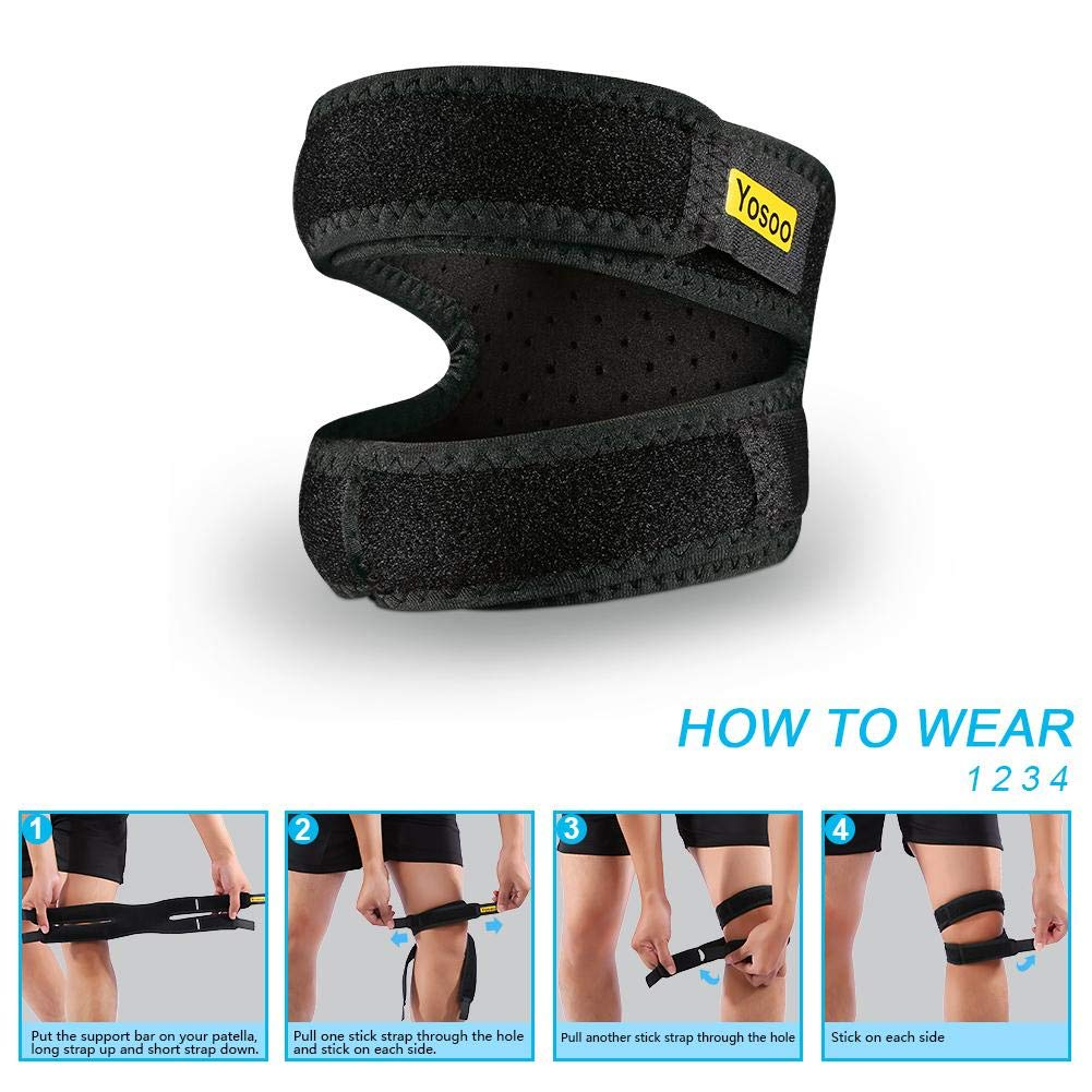 ce414ee40a Amazon.com: VGEBY Gym Knee Braces Support,Compression Wrap Band Knee  Stabilizer for Weightlifting Fitness Exercise Running Climbing Cycling:  Sports & ...
