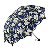 New!BingYELH Printted Umbrella, Lily Flower Folding Flouncing Compact Waterproof Umbrella, Princess Dome Parasol Sun/Rain Umbrella (As Shown)