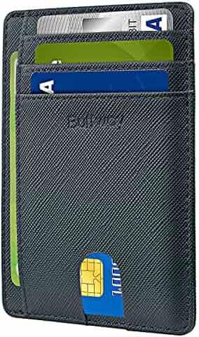 Buffway Slim Minimalist Front Pocket RFID Blocking Leather Wallets for Men Women