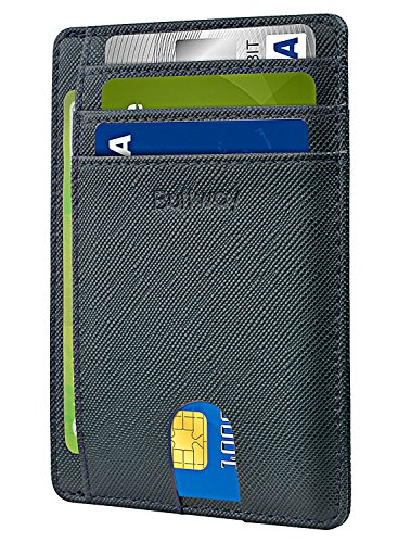 Slim Minimalist Leather Wallets for Men & Women - Cross Blackish Green by Buffway