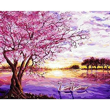 amazon co jp チェリーツリーロマンチックピンク景色キャンバスの壁