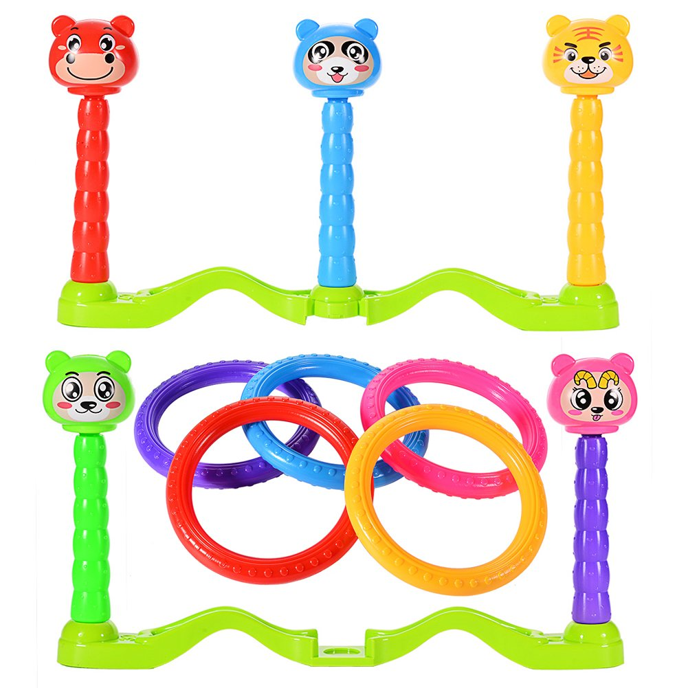 Ocamo Plastic Cartoon Ring Toss Game For Kids Outdoor Toys Keep Kids Active - Easy to Assemble - 5 Rings for Kids and Adults