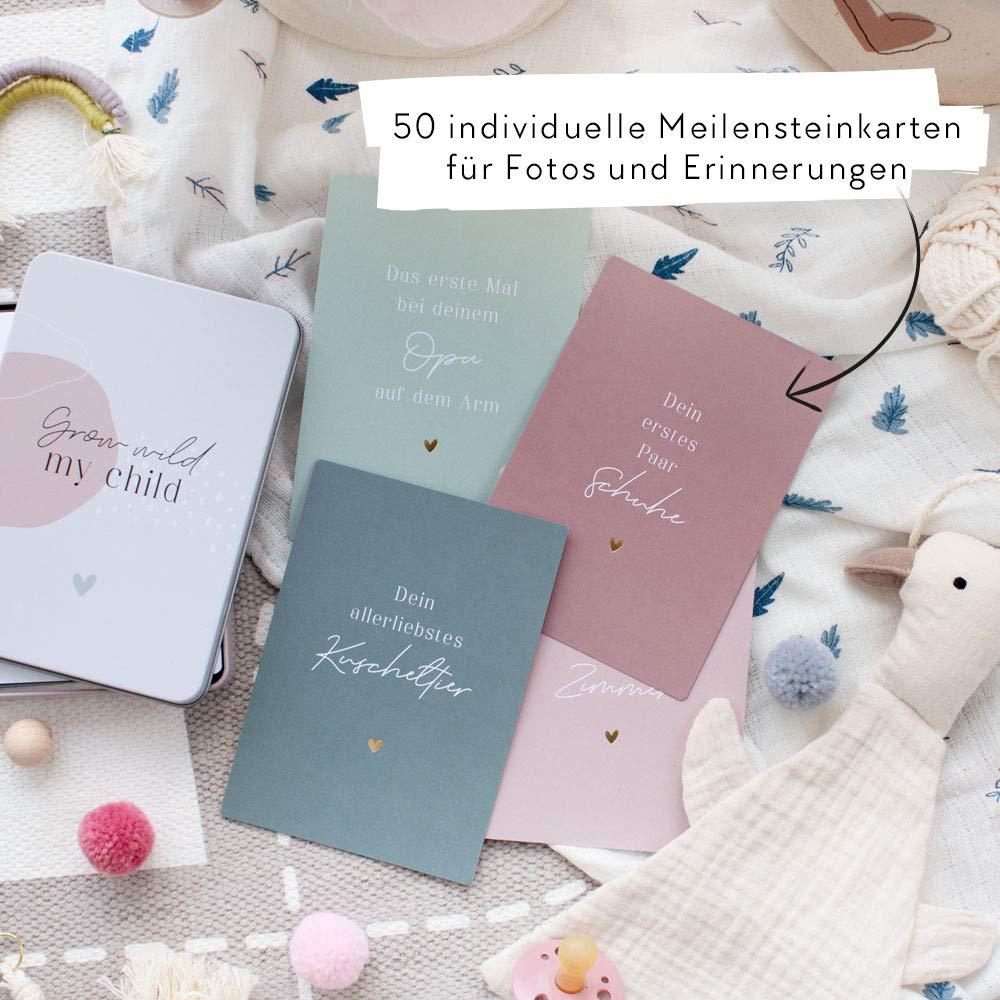 JO /& JUDY MeilensteinkartenBaby mit Metallbox 50 individuelle Karten mit den wichtigsten Entwicklungsschritten eines Babies