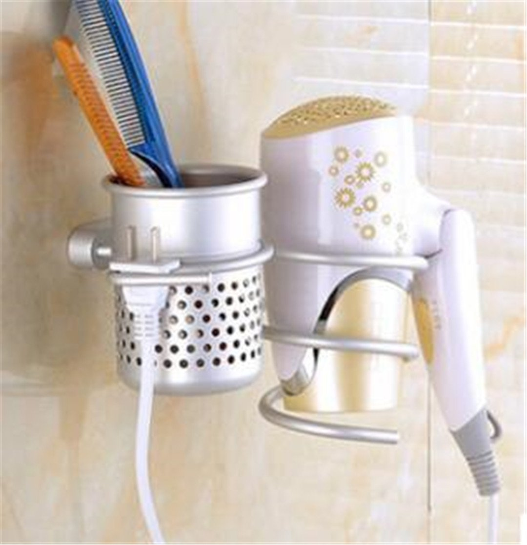 YU-Bathroom SBLE Fashion Multi-Use Aluminum Wall Mounted Hair Dryer Drier Comb Holder Rack Stand Set Storage Organizer Home Use as pictrues2