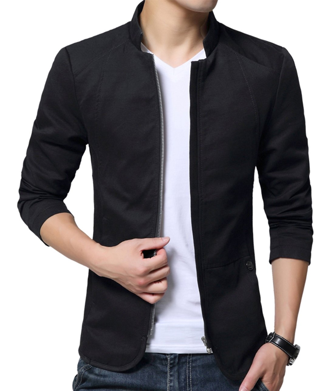 XueYin Men's Cotton Lightweight Slim Fit Jacket Casual Wear(Black,S Size) by XueYin