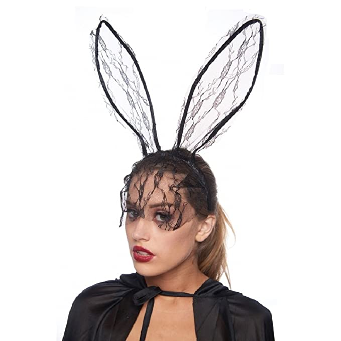 KII Lace Bunny Ears Headband with Full-Face Veil (Unisex; One Size Fits