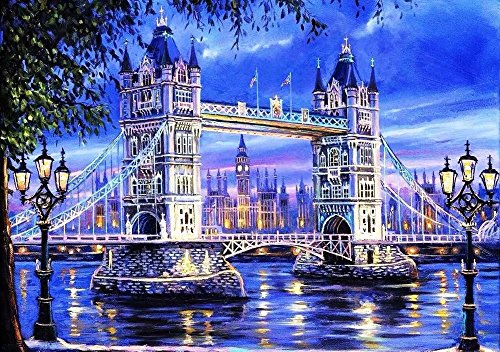 Tonzom Diamond Painting Kit DIY 5D Rhinestone 12 x 16 inches Canvas Full Drill Paint by Numbers for Kids and Adults Beginner with Stitch Pen - Splendid Londdon Tower Bridge