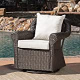 GDF Studio Augusta Patio Furniture ~ Outdoor Wicker Swivel Rocker (Glider) Chair (Single) For Sale