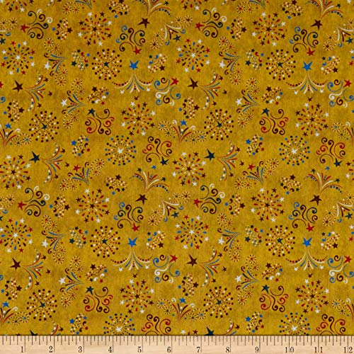 QT Fabrics American Pride Fireworks Gold Fabric by the Yard