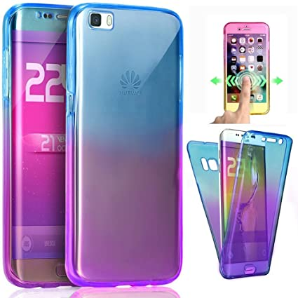 Funda Huawei P9 Lite,Carcasas Versión [Cover 360 Grados], Doble Delantera + Trasera Gel Transparente Silicona Integral Shock Absorción Anti Rasguños ...