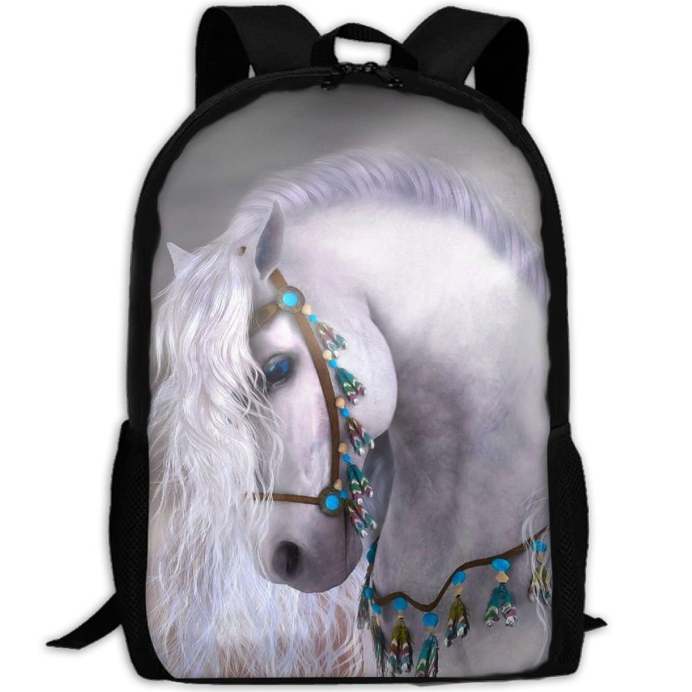 White Horse Interest Print Custom Unique Casual Backpack School Bag Travel  Daypack Gift low-cost a92ae454ca