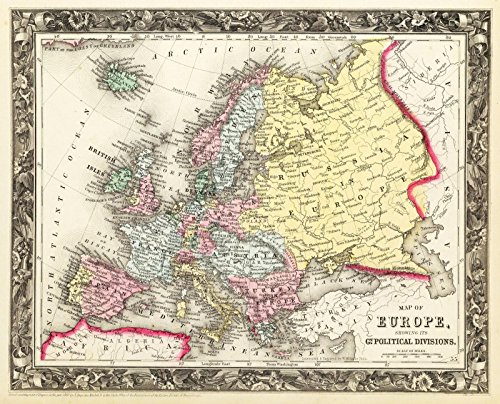 (Historic Map | World Atlas | 1860 Map of Europe. | Historical Antique Vintage Decor Poster Wall Art | 24in x 30in)