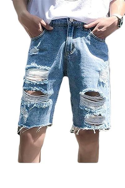 91057fff18 Pandapang Men's Faded Straight Basic Cut Off Bermuda Ripped Denim Shorts at Amazon  Men's Clothing store: