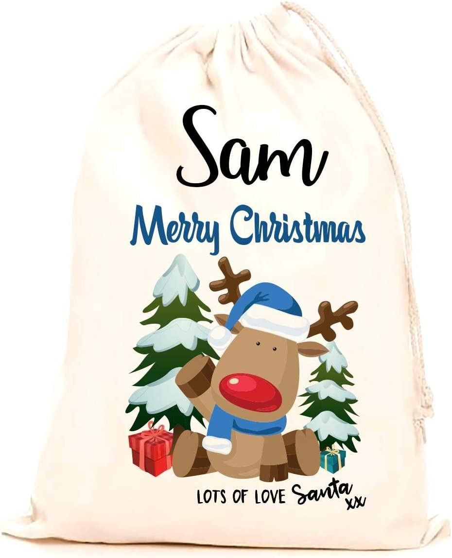 Children Kids stocking printed with a blue reindeer 75x50cm making it the perfect keepsake xmas gift//present. Treat Me Suite Sam personalised name Christmas santa sack 100/% Cotton Large