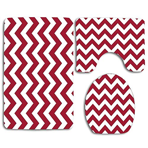 - Bama Chevron Throw Bath Rug Set of 3 Piece Bathroom Rugs Sets Non Slip Bath Mat Rug for Bathroom Kitchen Bedroom Accessories