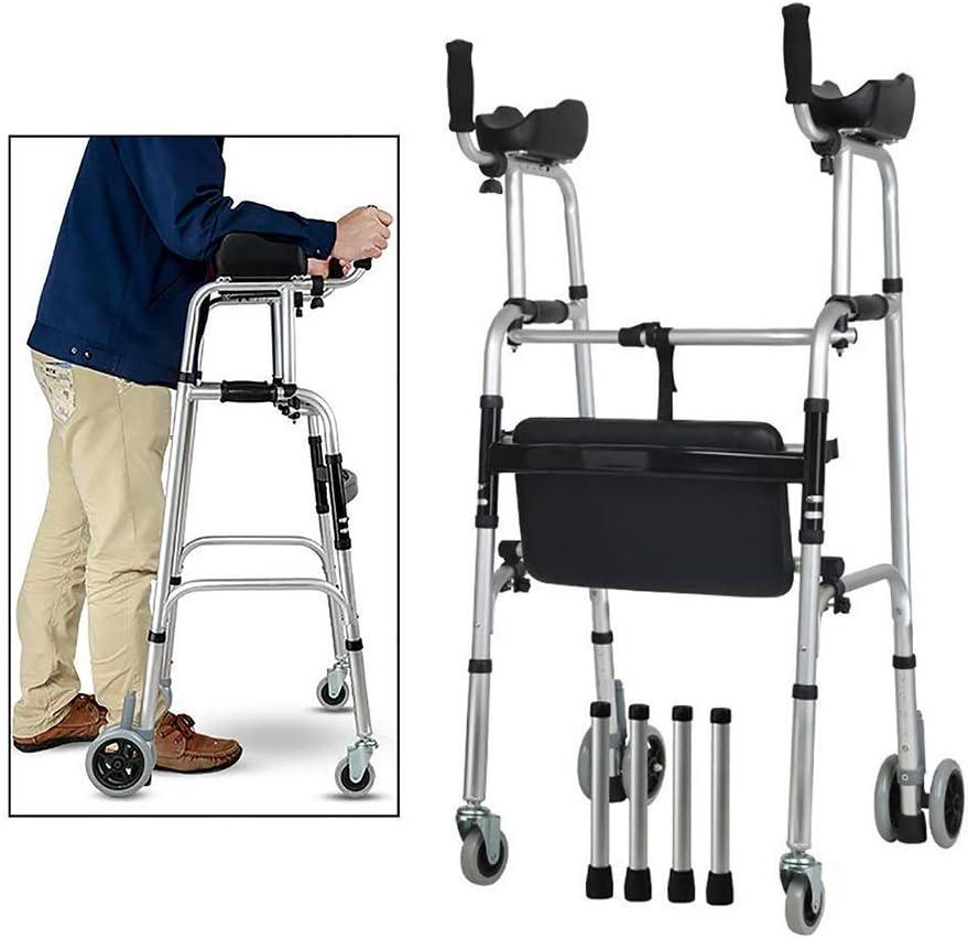 FKDEWALKER Aluminium Foldable Walking Frame,Wheeled Walker with Arm Rest,Walking Mobility Aid,,Lower Limb Trainer,Standard Walker (Color : 4 Wheels+4 ...