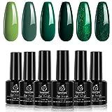 Beetles Carnival Evergreen Gel Nail Polish Set - 6 Colors Glitter Green Sparkle Gel Polish Kit Avocado Dark Green Nail…