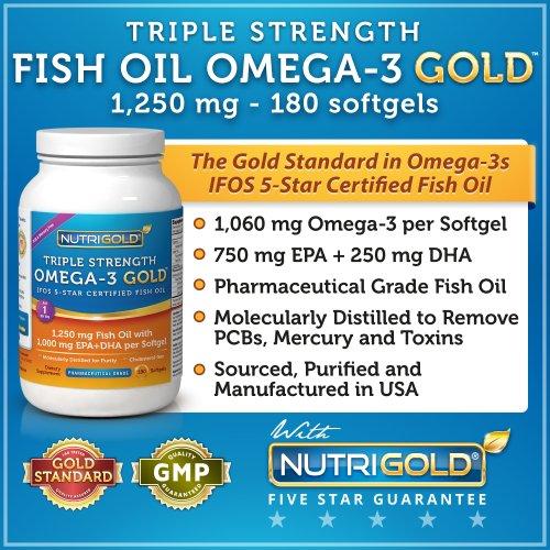 Oméga-3 Triple Strength Gold (1060 mg d'oméga-3 par gélule), 1200 mg, 180 gélules